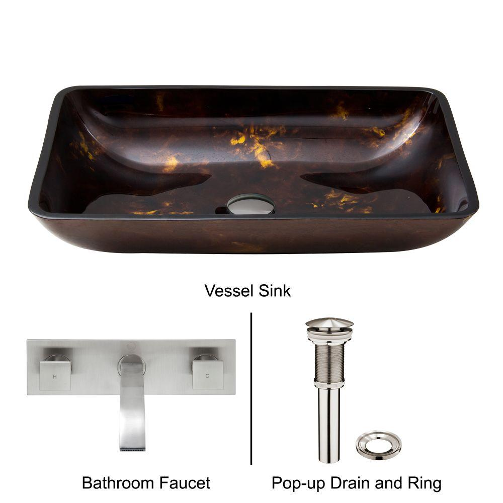 Rectangular Glass Vessel Sink in Brown and Gold Fusion with Wall-Mount