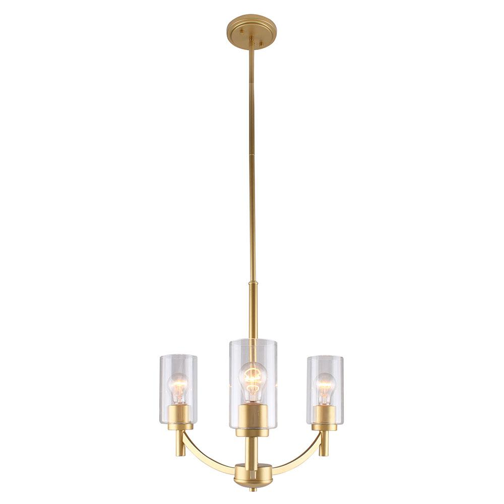 Eglo Devora 3-Light Antique Gold and Clear Glass Chandelier