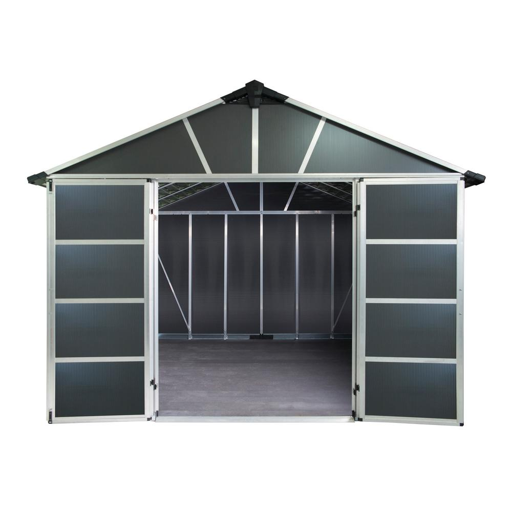 Palram Yukon 11 ft. W x 9 ft. D x 8.3 ft. H Dark Gray Storage Shed with WPC Floor Kit