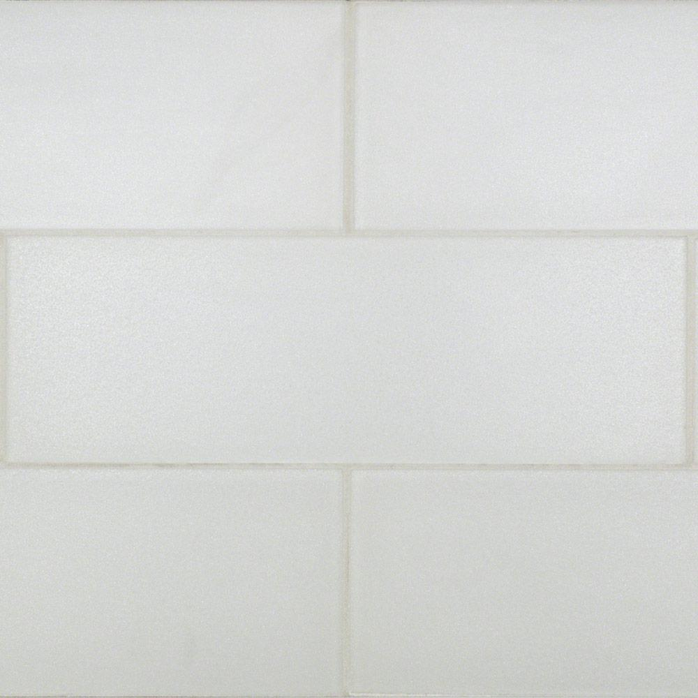 Midtown Sense Pearl Bright White 4 in. x 12 in. Marble
