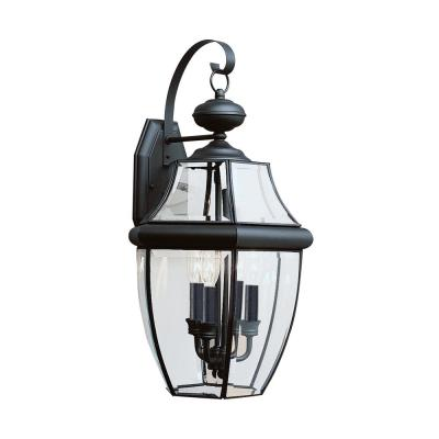 Lancaster 3-Light Black Outdoor Wall Lantern Sconce