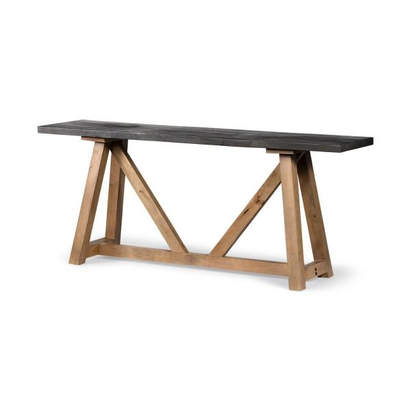 Rialto I 29.5 in. Dark Brown Black Solid Wood Top Tall Wooden Console Table with a Medium Brown Mango Wood Base