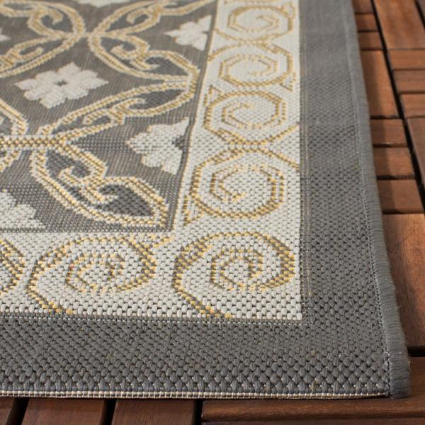 Safavieh Courtyard Anthracite Light Gray 5 Ft X 8 Ft Indoor Outdoor Area Rug Cy7810 87a21 5 The Home Depot
