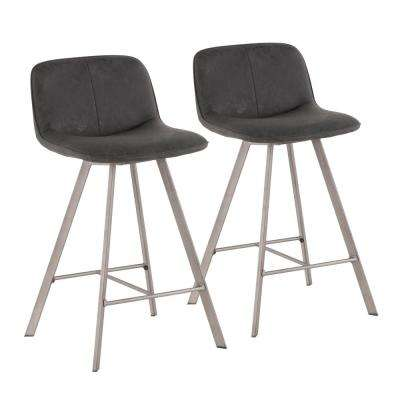 Sedona 26 in. Black Fabric and Antique Metal Counter Stool (Set of 2)