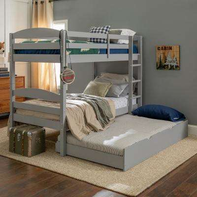 Solid Wood Twin over Twin Bunk Bed + Storage/Trundle Bed - Grey