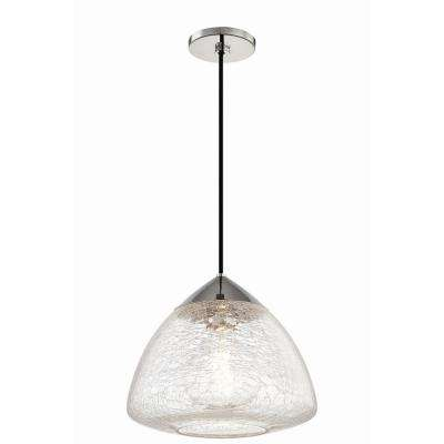 Maya 1-Light 12 in. W Polished Nickel Pendant with Clear Crackle Glass Shade