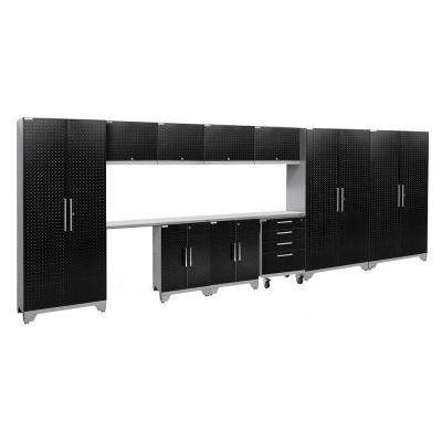 Performance 2.0 Diamond Plate 77.25 in. H x 186 in. W x 18 in. D Stainless Steel Worktop Cabinet Set Black (12-Piece)