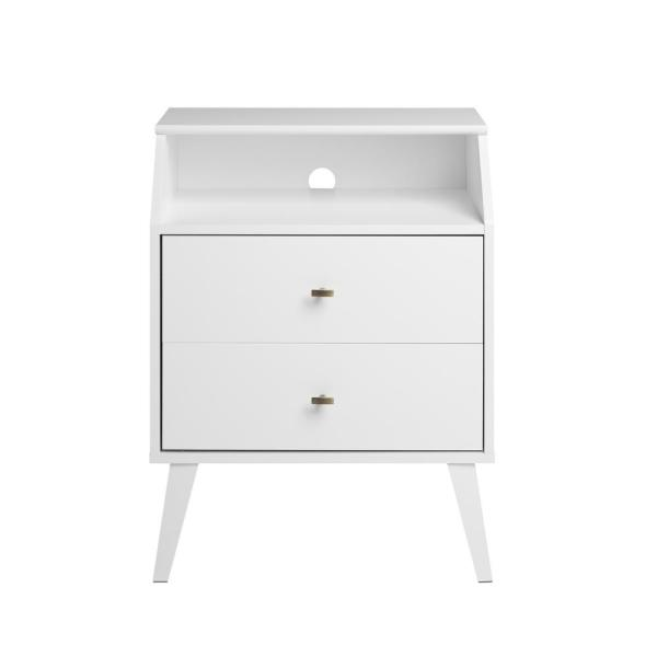 Milo Mid Century Modern White 2-Drawer Nightstand with Angled Top