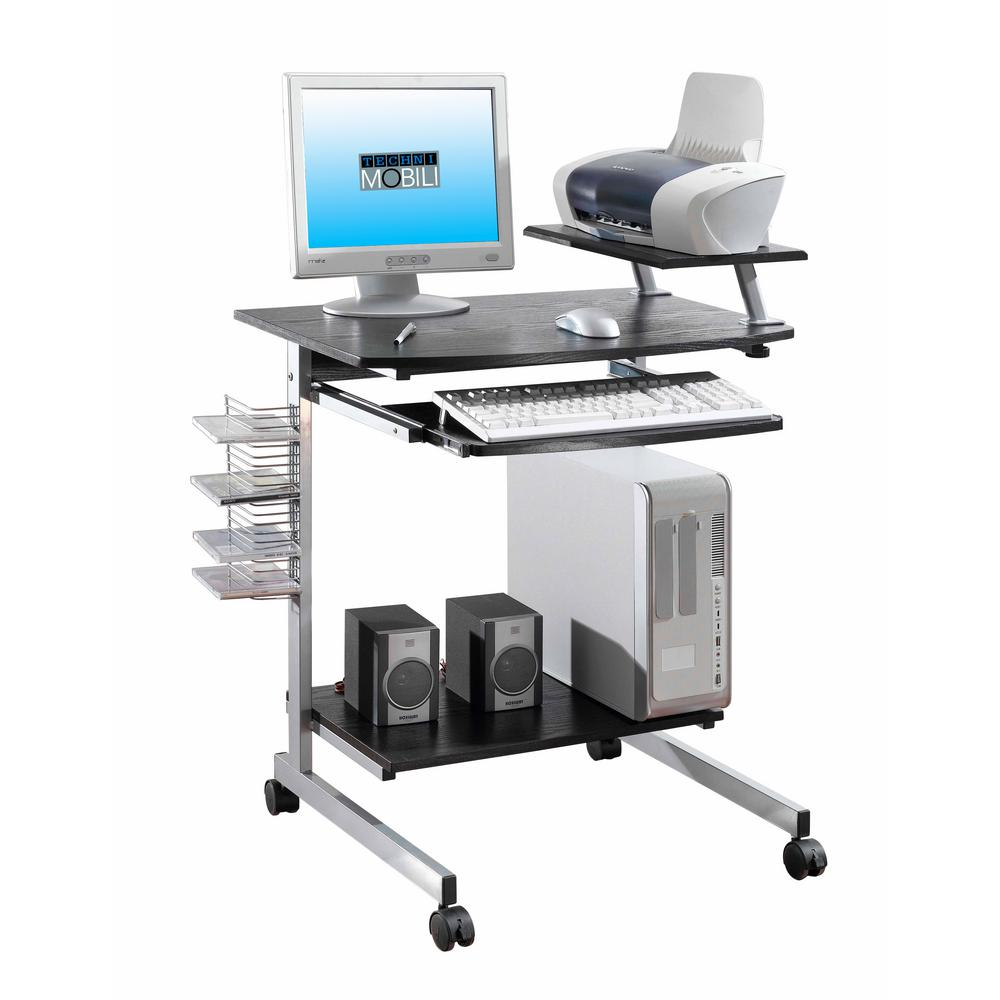 Techni Mobili Espresso Compact Computer Cart With Storage Rta 2018 Es18 The Home Depot