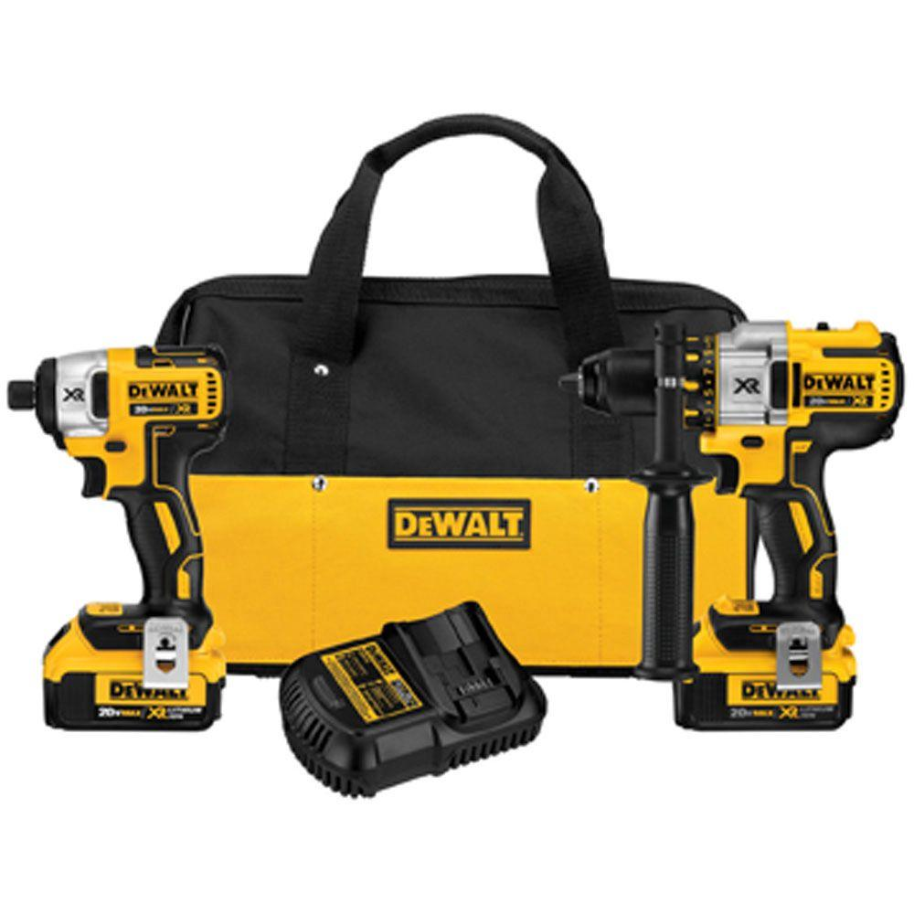 DeWalt 20-Volt Max XR Lithium-Ion Cordless Brushless Hammer Drill and Impact Driver Combo Kit (2-Tool)