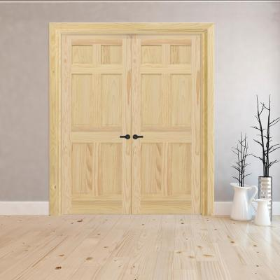 60 in. x 80 in. Universal 6-Panel Unfinished Pine Wood Double Prehung Interior French Door with Nickel Hinges