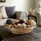 Household Essentials 6.1 in x 21.6 in Large Decorative Round Rope and Willow Basket