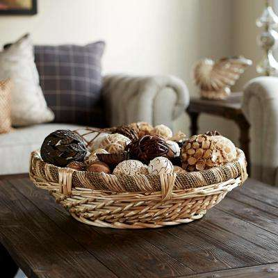 6.1 in x 21.6 in Large Decorative Round Rope and Willow Basket