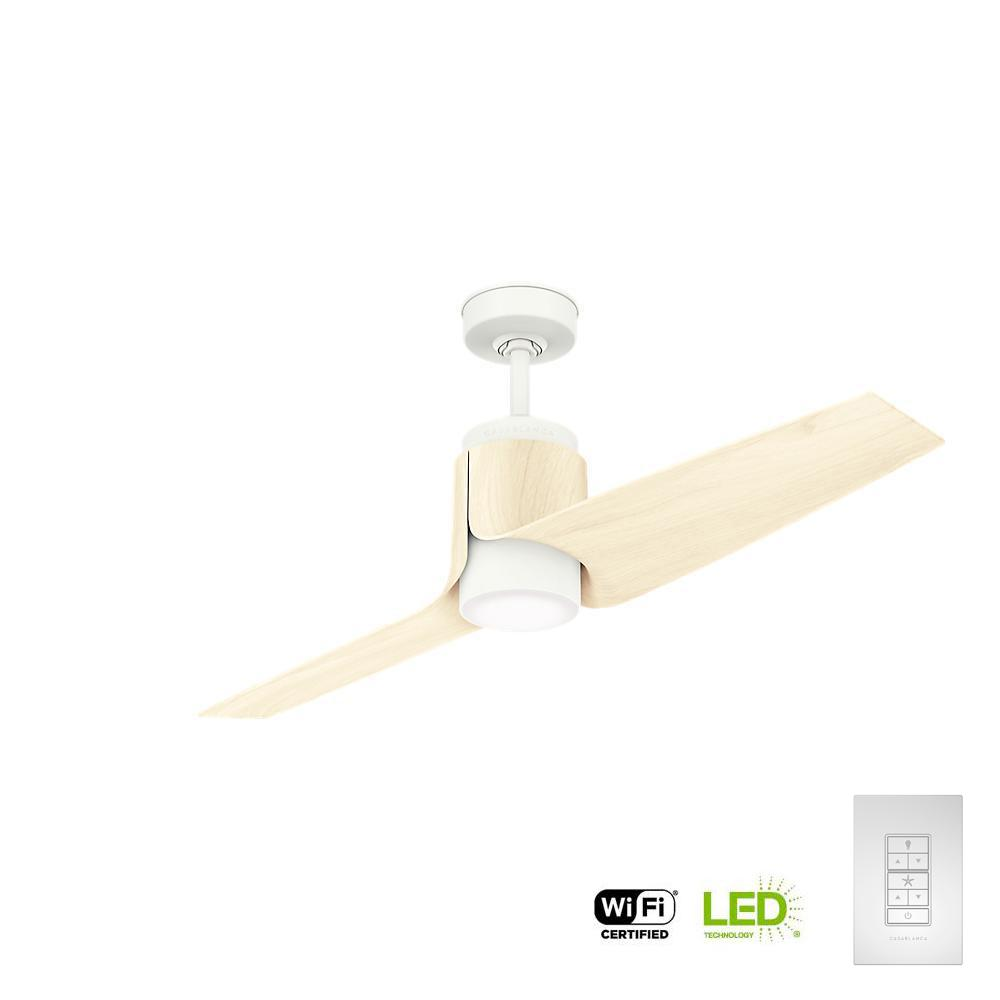 Led Outdoor Wifi Enabled Porcelain White Ceiling Fan With Integrated Light