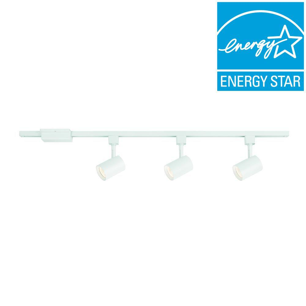 44 in. 3-Light White Integrated LED Track Lighting Kit with Cylinder