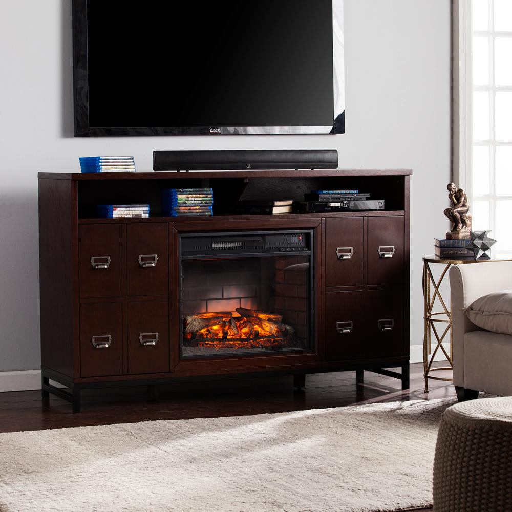 Pleasant hearth dorsett 40 in freestanding electric fireplace tv stand in heritage walnut 238 - Space saving corner electric fireplace providing warmth for your small space ...