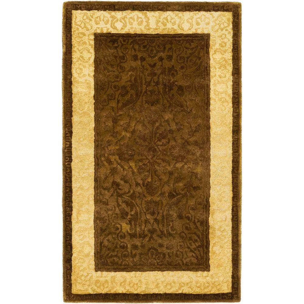 Safavieh Silk Road Chocolate and Light Gold 2 ft. 6 in. x 4 ft. Runner
