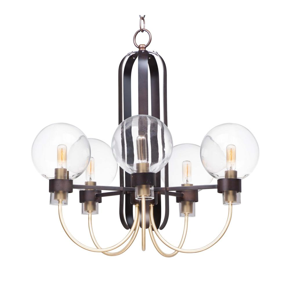 Maxim Lighting Bauhaus 24 In W 5 Light Bronzesatin Brass