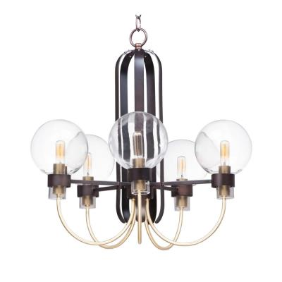 Bauhaus 24 in. W 5-Light Bronze/Satin Brass Chandelier with Clear Shade