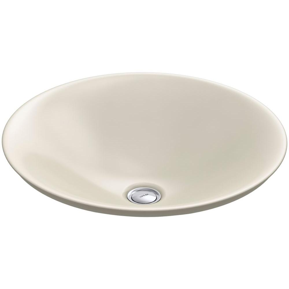 KOHLER Carillon Wading Pool Above-Counter Vitreous China Bathroom Sink in Almond