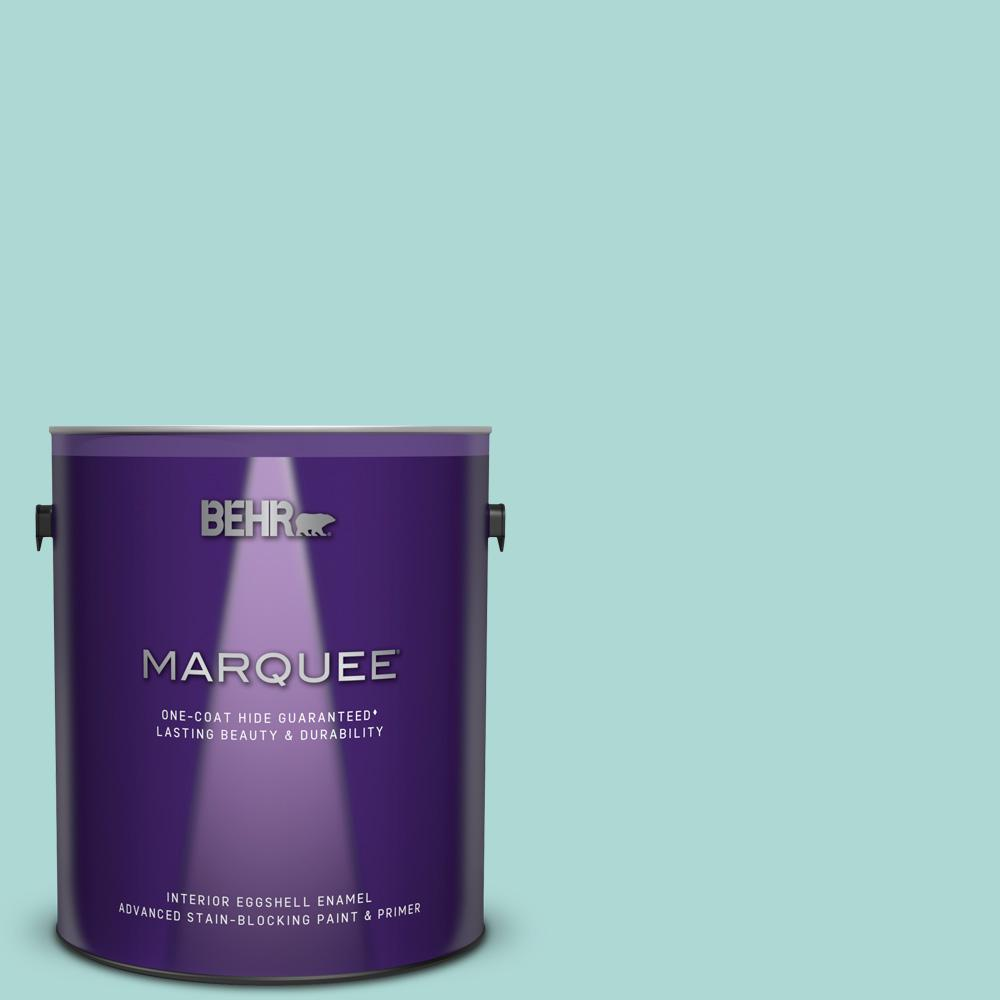 Behr marquee 1 gal m450 3 wave top one coat hide eggshell enamel interior paint and primer in for Best one coat coverage exterior paint