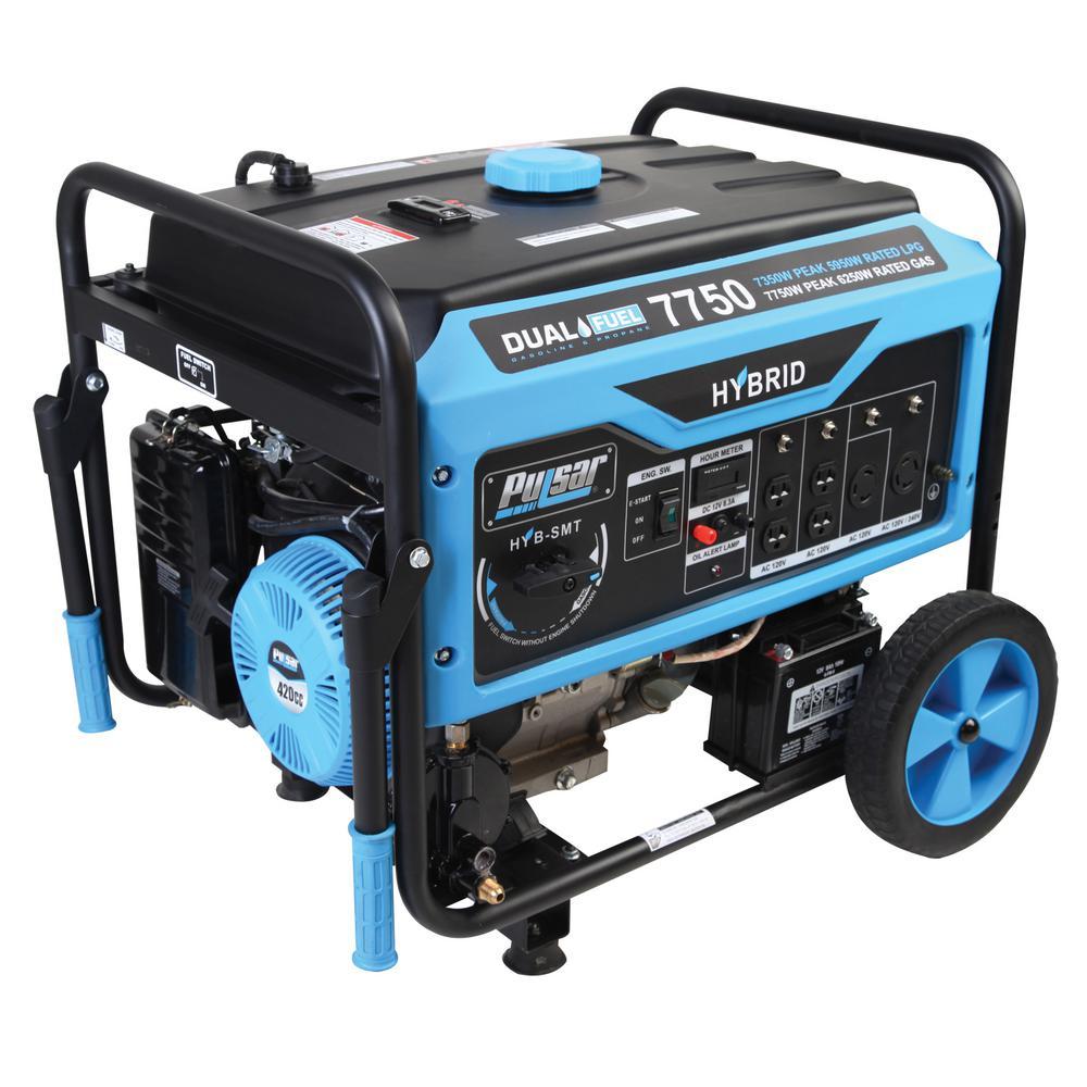 7,750/6,250-Watt Dual Fuel Gasoline/Propane Powered Electric/Recoil Start Portable Generator with 420 cc Ducar Engine