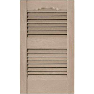 15 in. x 25 in. Louvered Vinyl Exterior Shutters Pair in #023 Wicker