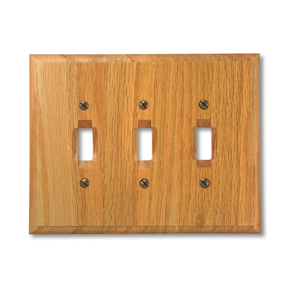 Carson 3 Gang Toggle Wood Wall Plate - Light Oak