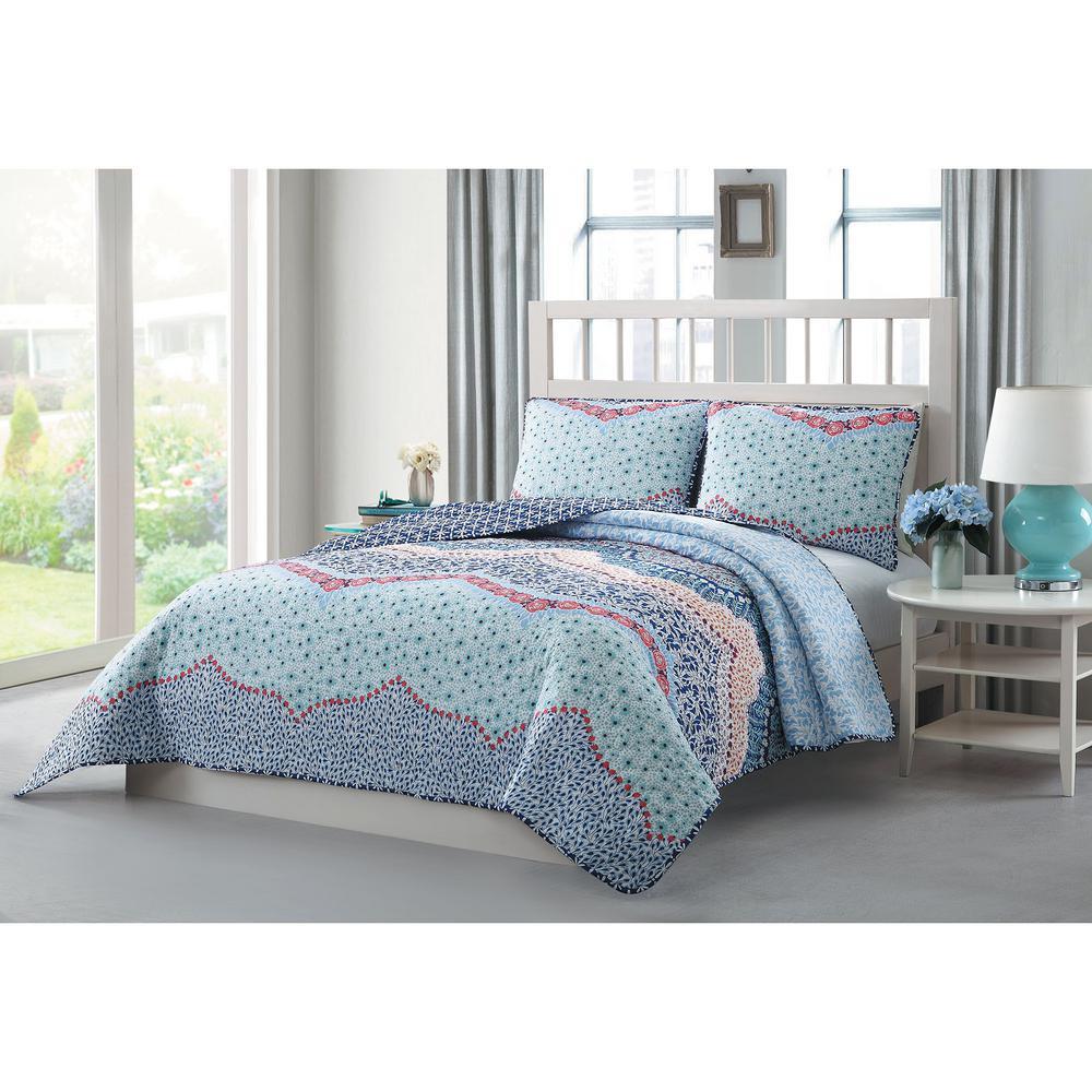 Caravan 3-Piece Blue/Pink/Purple/White King Reversible Quilt Set YMZ007300