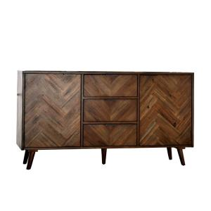 Brown Wooden Server with Angled legs and 3 Spacious Drawers