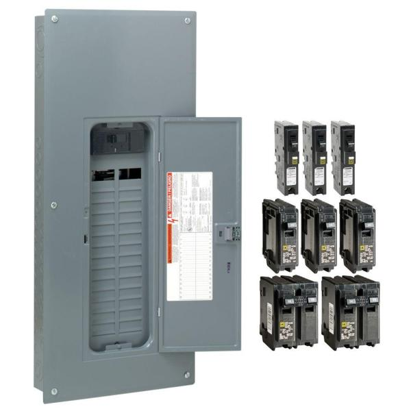 Homeline 200 Amp 30-Space 60-Circuit Indoor Main Breaker Plug-On Neutral Load Center with Cover - CAFI breaker ValuePack
