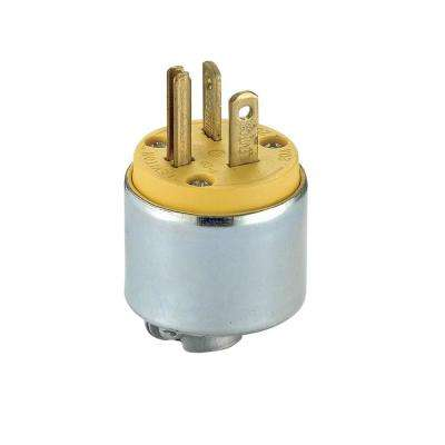 20 Amp 250-Volt Commercial Grade Straight Blade Male Plug, Yellow