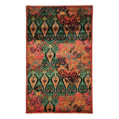 Arts Red 5 ft. x 8 ft. Indoor Area Rug