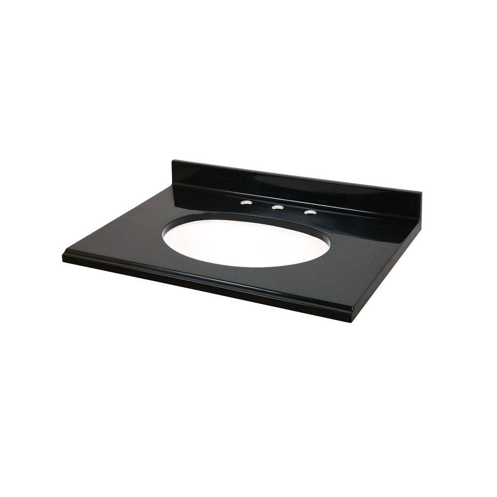 St. Paul 31 in. Colorpoint Technology Vanity Top in Black with White Undermount Bowl-DISCONTINUED