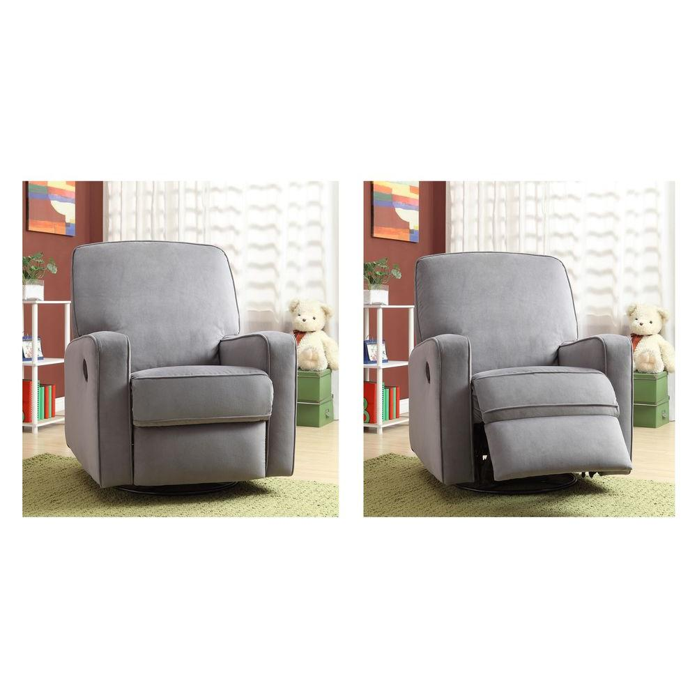 PRI Sutton Tan Fabric Swivel Recliner-DS-912-006-051 - The Home Depot