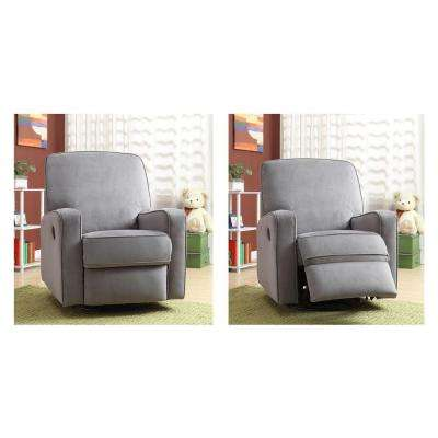 Sutton Gray Fabric Swivel Recliner