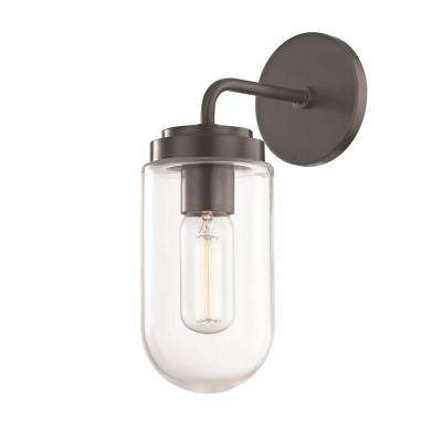 Clara 1-Light Old Bronze Wall Sconce with Clear Glass