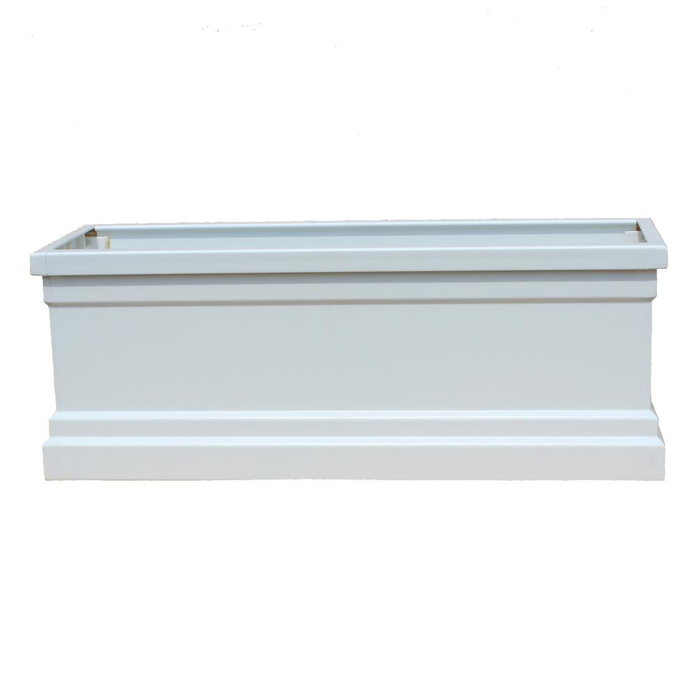 Bloomz Box 8.5 in. x 120 in. Fiberglass White Planter Box