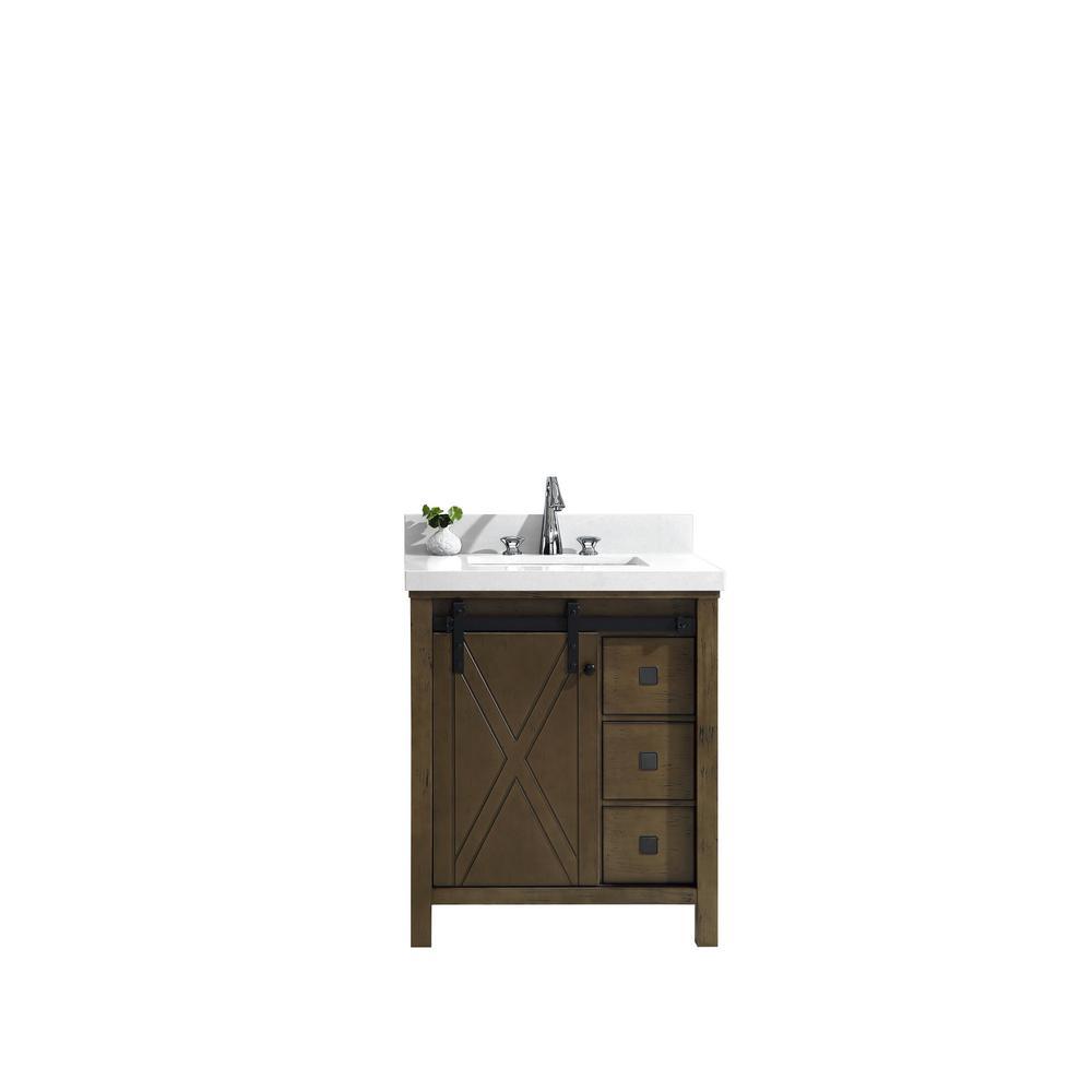 Marsyas Veluti 30 in. Single Vanity Rustic Brown, White Quartz Top, White Square Sink and No Mirror