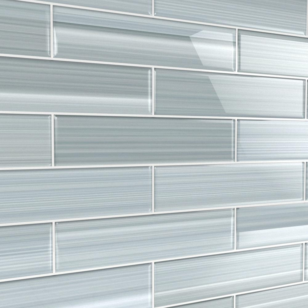 - Bodesi Heron Gray 3 In. X 12 In. Glass Tile For Kitchen Backsplash