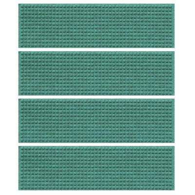 Aquamarine 8.5 in. x 30 in. Squares Stair Tread Cover (Set of 4)