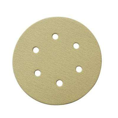 6 in. A/O Hook and Loop 6-Hole Sanding Disc Assortment Grits 80,100,120,150,220 in Gold (50-Pack)
