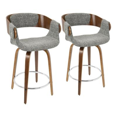 Elisa 24 in. Walnut and Grey Counter Stool (Set of 2)