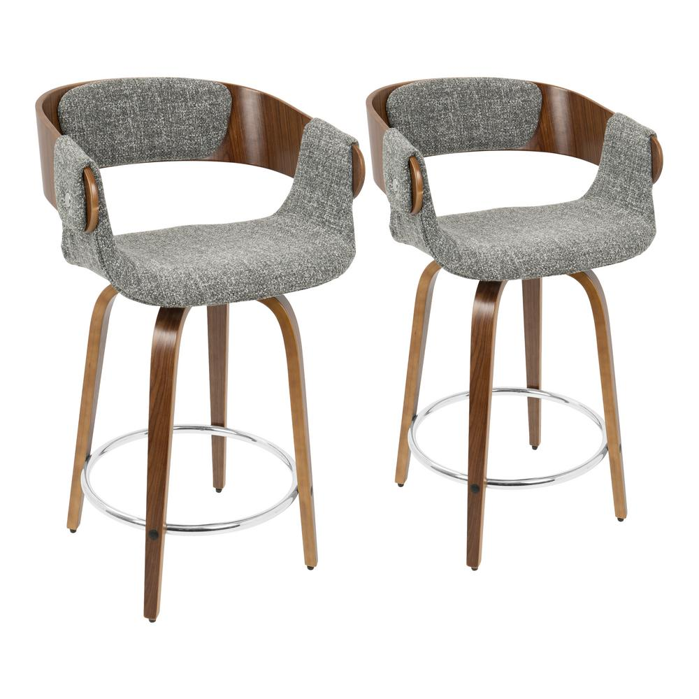 Kitchen Stools Malta: Lumisource Elisa 24 In. Walnut And Grey Counter Stool (Set