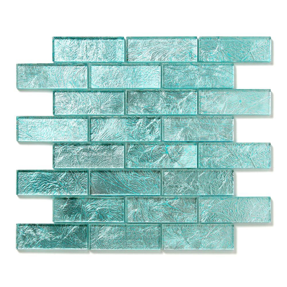 Solistone Folia Juniper 12 in. x 12 in. x 6.35 mm Blue Glass Mesh-Mounted Mosaic Wall Tile (10 sq. ft. / case)