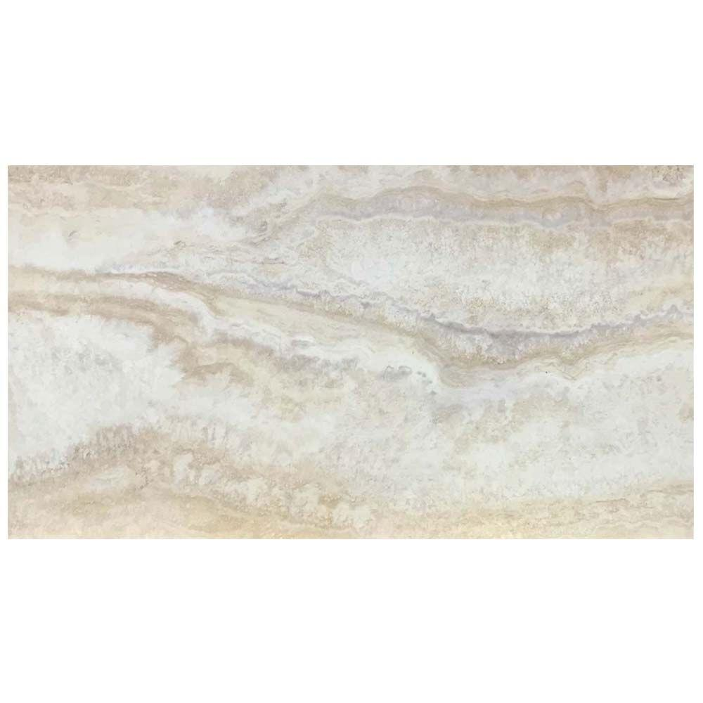 Trafficmaster light grey 12 in x 24 in travertine peel for Stick on linoleum tiles