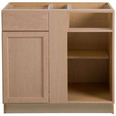 Easthaven Assembled 36x24.5x34.5 in. Frameless Blind Base Corner Cabinet in  Unfinished German Beech
