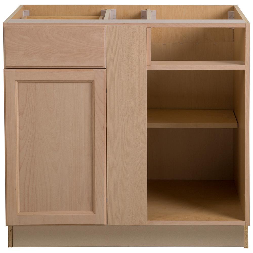 Easthaven Assembled 36x24.5x34.5 in. Frameless Blind Base Corner Cabinet in  Unfinished German Beech