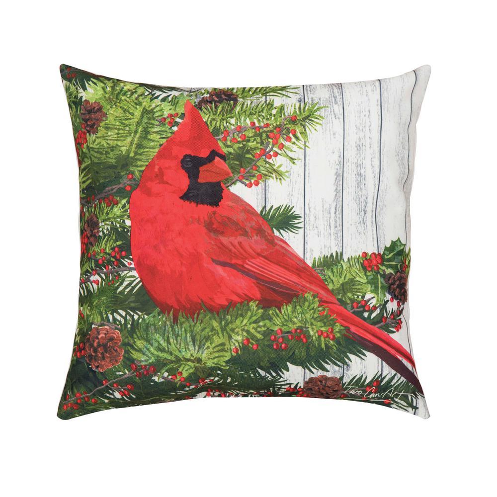 Green Christmas Bird Indoor/Outdoor 18 in. x 18 in. Standard Throw Pillow