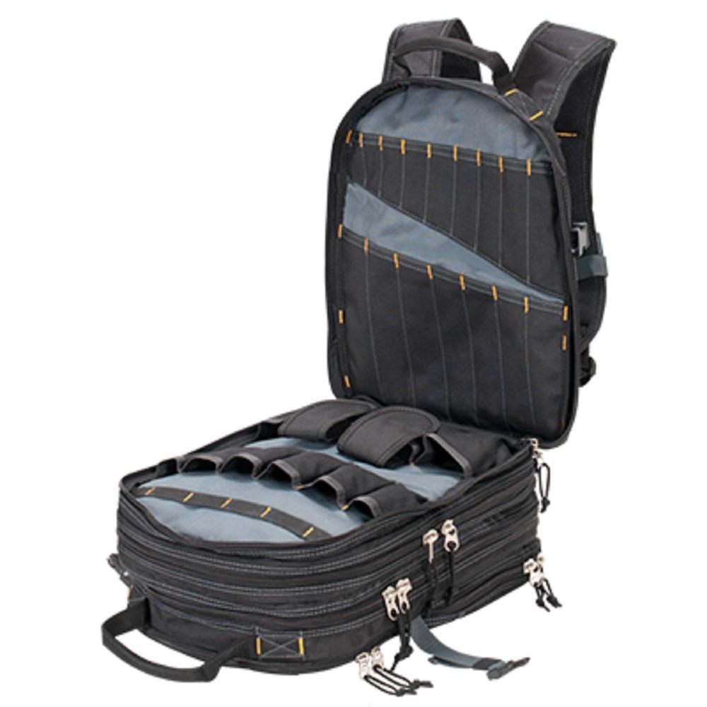 13 in. W Heavy-Duty Tool Backpack in Black
